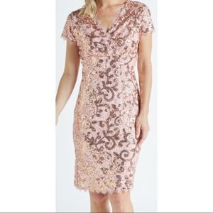 Marina Formal Pink sequin Lace Dress